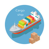 Cargo Ship Vector Icon in Isometric Projection Royalty Free Stock Photos