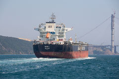 Cargo ship and water Bosphorus strait in Istanbul, Turkey Stock Photos