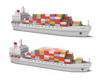 Cargo ship on white background Royalty Free Stock Image