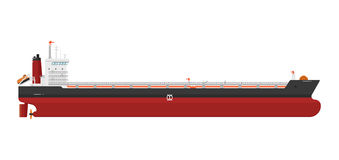 Cargo ship  on white background. Vector illustration. Freight tanker side view. Commercial container vessel in flat design. Logistics and transportation design Royalty Free Stock Photo
