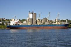 A cargo ship on the Willamette river Portland Oregon. Royalty Free Stock Photos