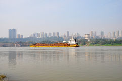 Cargo Ship on Yangtze River Royalty Free Stock Images