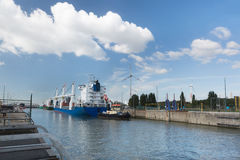 Cargo ship in Zandvliet lock Stock Photography
