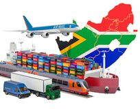 Free Cargo Shipping And Freight Transportation In South Africa By Ship, Airplane, Train, Truck And Van. 3D Rendering Royalty Free Stock Images - 157485069