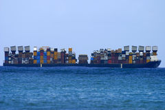 Cargo Shipping Boat. Photo of a large cargo ship at sea Royalty Free Stock Photo