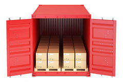Cargo shipping concept, container with parcels. 3D rendering Stock Photo