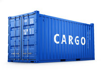 Cargo shipping container  on white. Delivery. Royalty Free Stock Photo