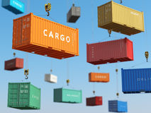 Cargo shipping containers in storage area with forklifts. Delive Royalty Free Stock Photography