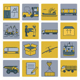 Cargo shipping deliveri icon set. Thin line design Royalty Free Stock Photo