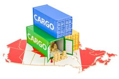Cargo Shipping and Delivery from Canada concept, 3D rendering. Cargo Shipping and Delivery from Canada isolated on white background Royalty Free Stock Photo