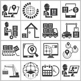 Cargo and shipping icons set Royalty Free Stock Photos