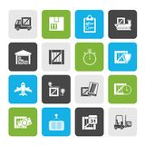Cargo, shipping, Logistics and delivery icons. Vector icon set royalty free illustration