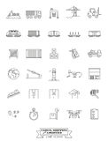 Cargo, Shipping and Logistics Line Icon Set Stock Photos