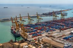 Cargo and shipping port in Barcelona Stock Image