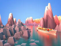 Cargo shipping in rocky area. 3D rendering: cargo shipping in rocky area Stock Image