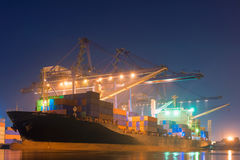 Cargo shipping and terminal loading at night scene.  Stock Images