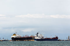 Cargo ships. Transport theme: Cargo ships on the sea stock photography