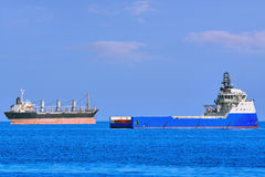 Cargo Ships at Anchorage Stock Photography