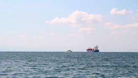 Cargo ships anchored outside Thessaloniki Port, Greece. Cargo ships anchored outside Thessaloniki Port stock video footage