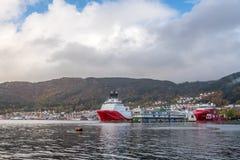 Cargo ships in Bergen harbour Stock Photos