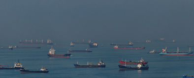 Cargo ships in Bosphorus Strait Royalty Free Stock Photography