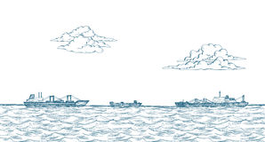 Cargo ships, clouds, sea royalty free illustration