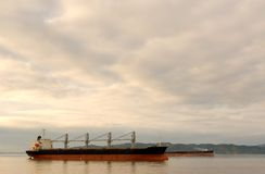 Cargo Ships, Columbia River Royalty Free Stock Photo