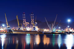 Cargo ships in the container terminal. Royalty Free Stock Photos
