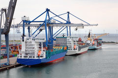 Cargo ships in Copenhagen seaport, Denmark Stock Image