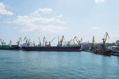 Cargo ships and cranes in the seaport Royalty Free Stock Photography