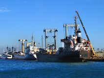 Cargo Ships Docked for Loading Stock Photos