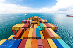 Cargo ships entering one of the busiest ports in the world, Singapore. Stock Photo