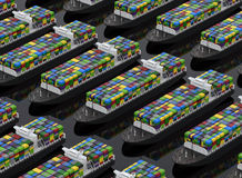 Cargo ships full of containers. 3D rendered illustration of multiple cargo ships arranged in a linear pattern, each ship is carrying a high amount of containers Stock Photo
