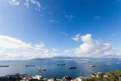 Cargo Ships in Gibraltar Royalty Free Stock Photos