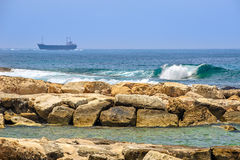 Cargo ships on horizon Royalty Free Stock Image