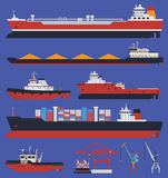 Cargo ships infographic Stock Photos
