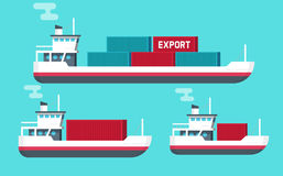 Cargo ships isolated vector illustration, flat cartoon big or small shipping freighter boats. Cargo ships isolated vector illustration, flat cartoon big and Royalty Free Stock Image
