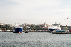 Cargo ships in Istanbul on Bosporus Stock Photo