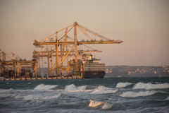 Cargo Ships loading stock photography