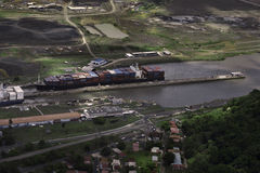 Cargo Ships at Miraflores Locks. In Panama Canal, Panama Stock Image