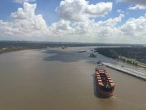 Cargo ships on the mississippi river Royalty Free Stock Photo