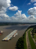 Cargo ships on the mississippi river Stock Images