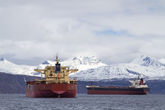 Cargo ships in Narvik Royalty Free Stock Photos