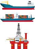 Cargo ships and oil platform Royalty Free Stock Image