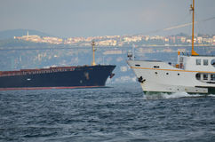 Cargo ships and passenger ships Bosphorus Stock Photos