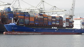 Cargo ships in port stock footage