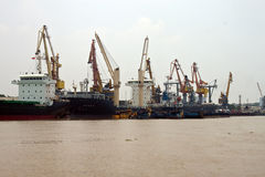 Cargo ships in a port Stock Photo