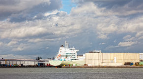 Cargo ships in the port of Rotterdam Stock Photo