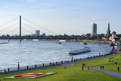 Cargo ships on Rhine Royalty Free Stock Images