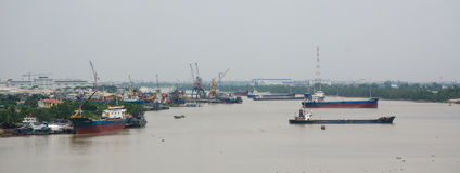 Cargo ships on the river in Haiphong, Vietnam Royalty Free Stock Photography